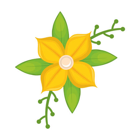 Yellow Flower With Leaves And Branches Vector Illustration Royalty