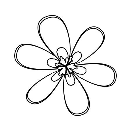 Flat Line Uncolored Six Petals Flower Over White Background Vector