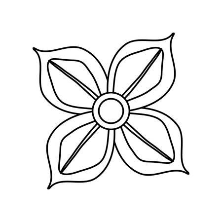 Flat line uncolored four petals flower over white background vector illustration 일러스트