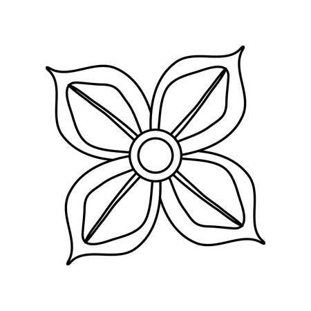 Flat line uncolored four petals flower over white background vector illustration Vettoriali