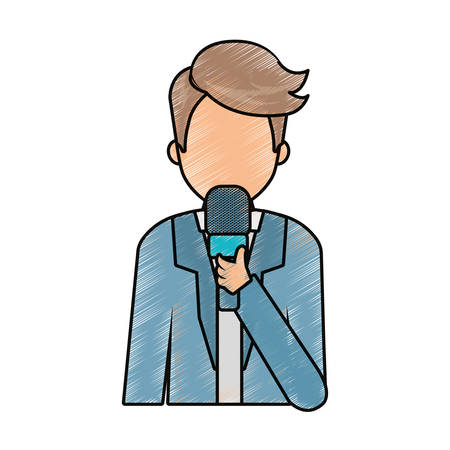 colored journalist holding microphone avatar doodle  over white background vector illustration Illustration
