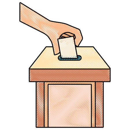 colored hand holding vote doodle and box vector illustration