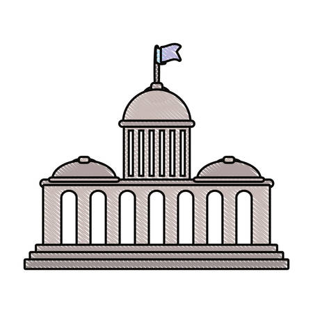 colored capitol doodle over white background vector illustration