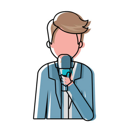 Colorful journalist holding microphone avatar over white background vector illustration Illustration