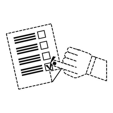 uncolored hand and election candidates checklist sticker vector illustration Vettoriali