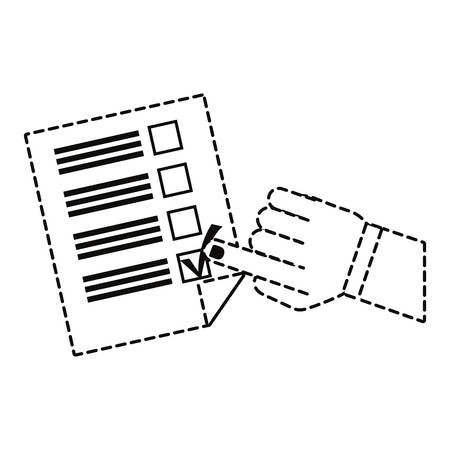 uncolored hand and election candidates checklist sticker vector illustration Reklamní fotografie - 94414158