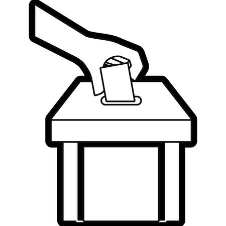 Uncolored hand holding vote and box vector illustration