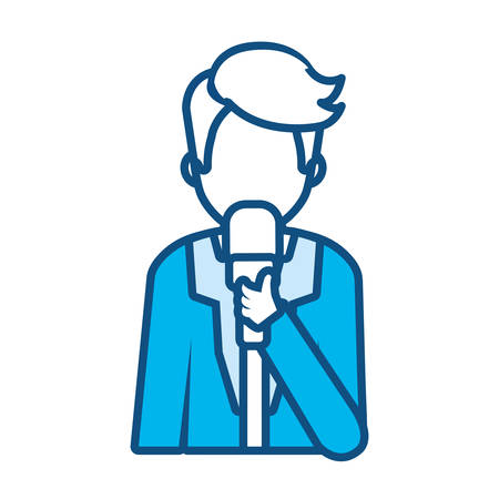 blue monochromatic journalist holding microphone avatar over white background vector illustration