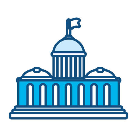 Blue monocromatic capitol over white background vector illustration