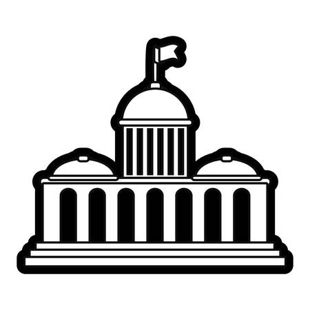 uncolored capitol over white background vector illustration