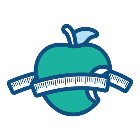 teal bitten apple with measuring tape vector illustration
