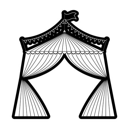 Uncolored circus tent over white background vector illustration