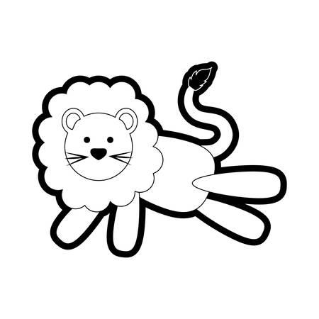 Uncolored lion over white background vector illustration Illustration