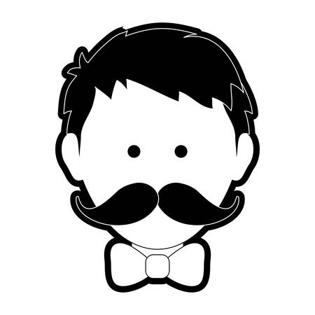 Uncolored man head with mustache and bowtie over white background vector illustration
