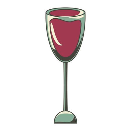 Wine glass icon over white background.