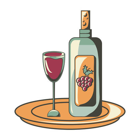 Wine glass and bottle icon over white background vector illustration