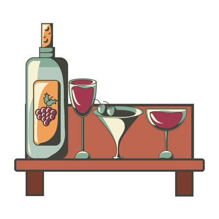 Shelf with wine bottle and glasses Illustration