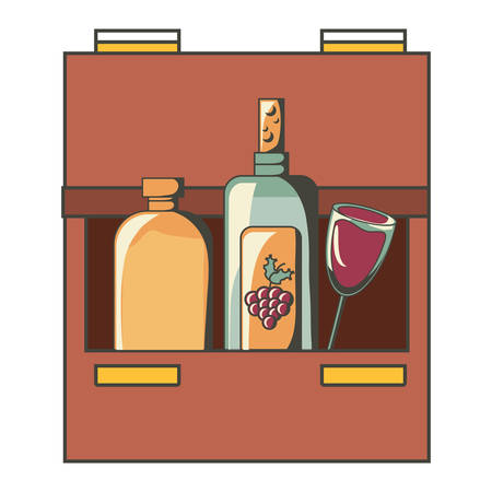 Drink drawers with bottles Illustration