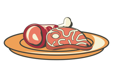 Steak and ham leg icon Vector illustration. Illustration