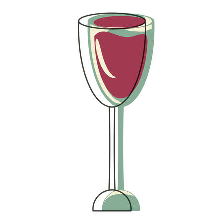 Wine glass icon over white background, colorful design. vector illustration Illustration