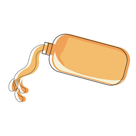Bottle with juice spilled over white background, vector illustration