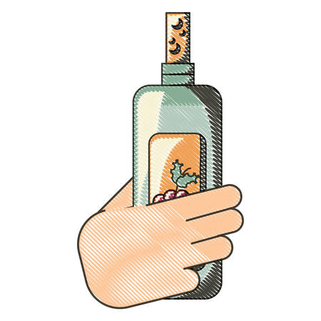 hand holding a Wine bottle icon over white background, colorful design. vector illustration