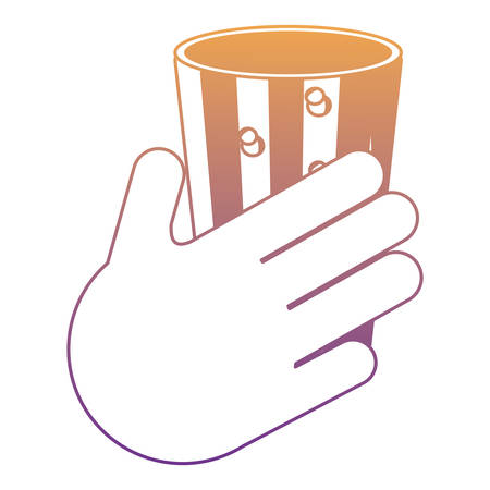 hand with glass of drink icon over white background, colorful design.  vector illustration