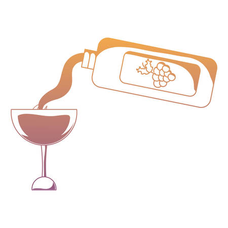 wine pouring from bottle to glass over white background vector illustration Illustration