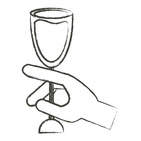 hand with Wine glass icon over white background vector illustration Illustration