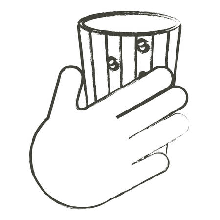 hand with glass of drink icon over white background vector illustration Çizim