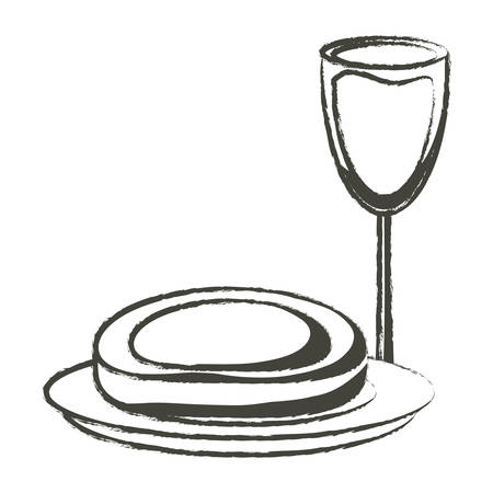Sketch of wine glass and dish with steak of meat icon over white background vector illustration