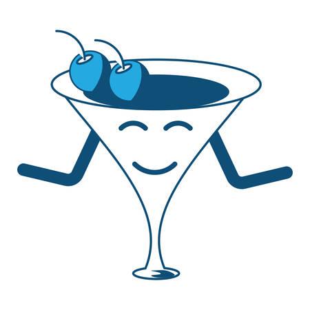 happy cocktail smiling over white background, blue shading design. vector illustration