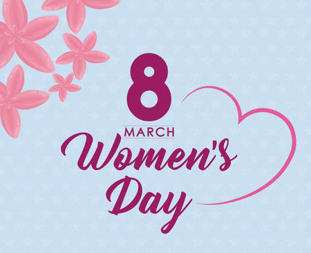 Womens day design with heart and pink flowers over blue background colorful design vector illustration