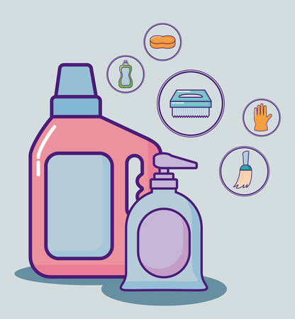 With cleaning supplies related icons over blue background colorful design vector illustration Illustration