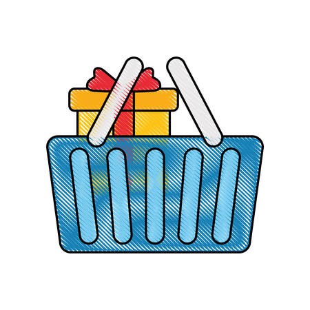 colored shopping basket with gift doodle over white background vector illustration Illustration