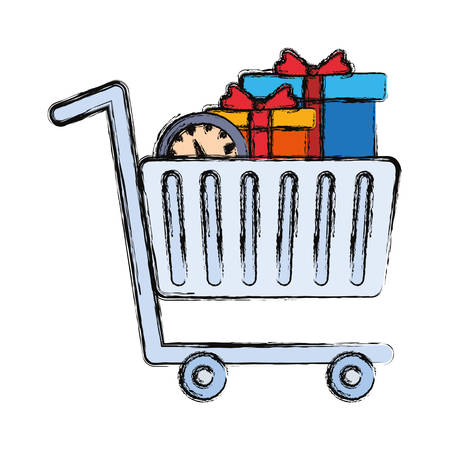 shopping cart with gifts and clock drawing over white background vector illustration