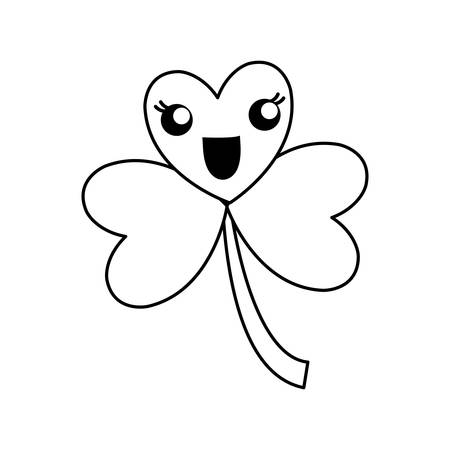 A Kawaii clover icon over white background vector illustration