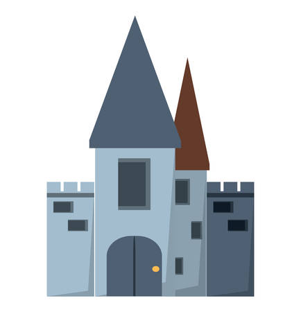 medieval castle icon over white background, colorful design vector illustration