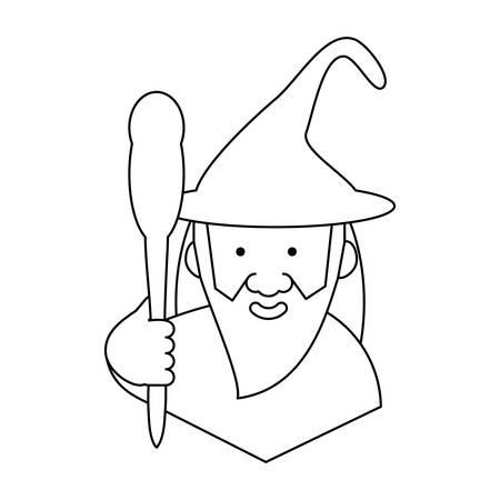 Asistente de dibujos animados sosteniendo un bastón mágico sobre ilustración de vector de fondo blanco