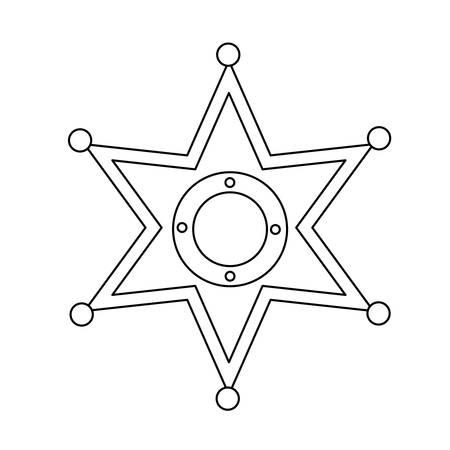 sheriff star icon over white background vector illustration
