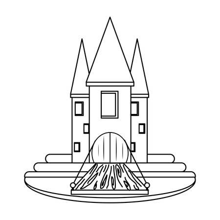 Medieval castle with towers and walls, surrounded by water over white background vector illustration