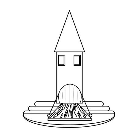 Little medieval castle icon over white background vector illustration