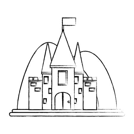 Sketch of Fairy Tale Castle Surrounded by mountains over white background vector illustration