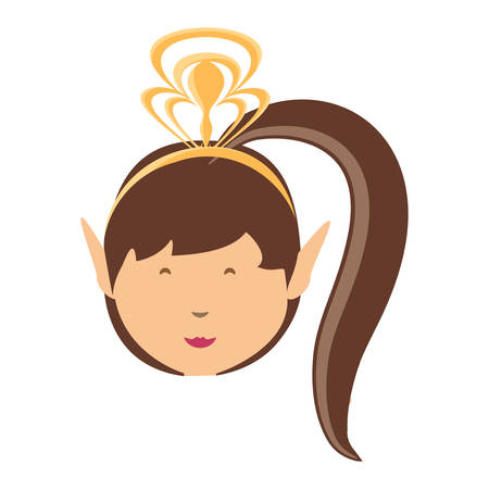 A cartoon princess wearing a tiara over white background, colorful design. vector illustration