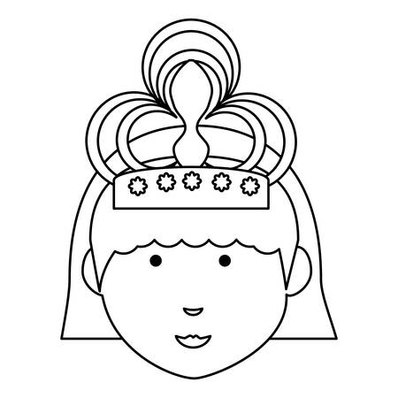 cartoon princess wearing a tiara over white background vector illustration