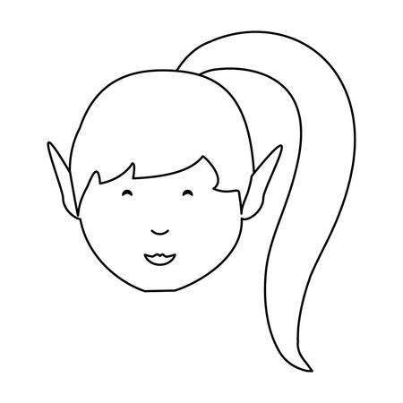 Cartoon Mädchen in Pferdeschwanz Schwanz über weißem Hintergrund Vektor-Illustration Standard-Bild - 94461096