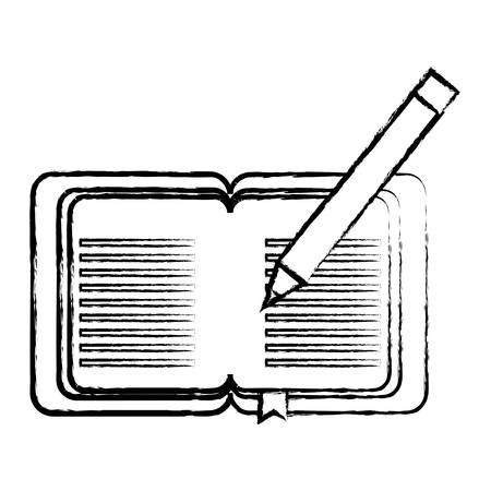 sketch of Old book and pencil  icon over white background vector illustration