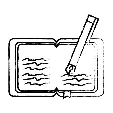 Old book and pen icon over white background vector illustration