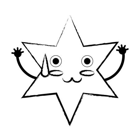 Sketch of Kawaii star sweating over white background vector illustration
