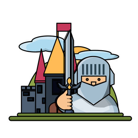 Medieval castle and cartoon knight icon over white background, colorful design. vector illustration